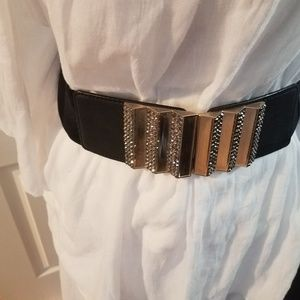 Black Elastic Belt with bling detail on Buckle